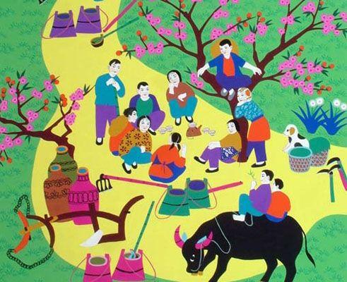 金山农民画是上海金山的民间传统艺术,发起于七十年代,包括灶头画
