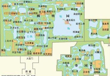 北京圆明园景点分布图.