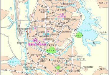 云南省思茅市城区地图.