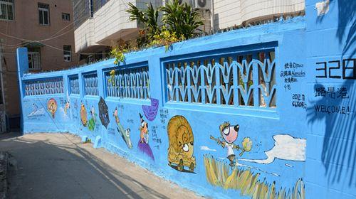 火车年代感的手绘墙画
