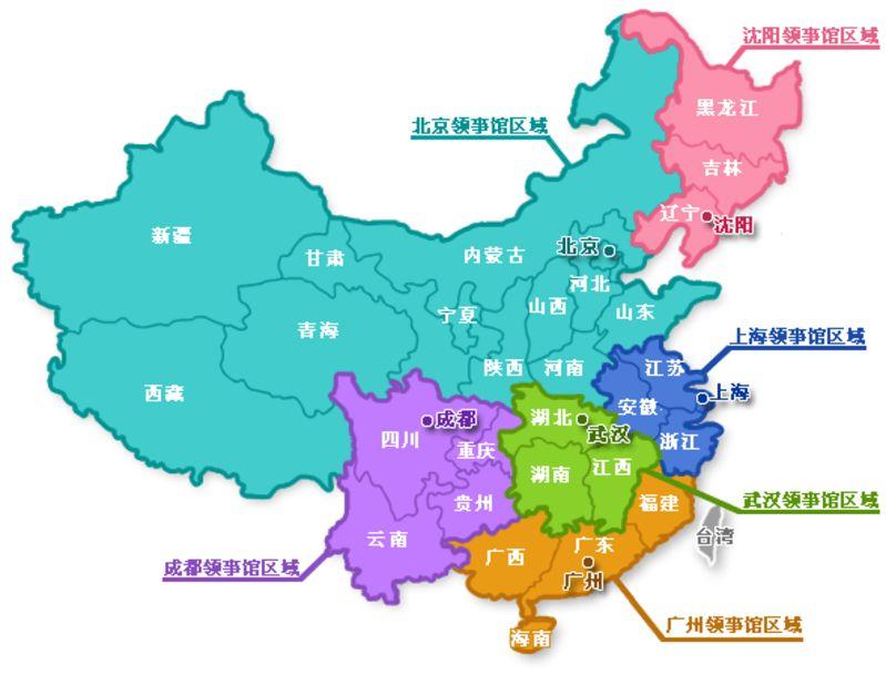 法国驻华大使馆根据其领事馆所在地在中国划分了不同的领区,下图为