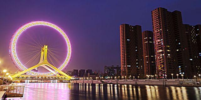 天津之眼摩天轮风景图片