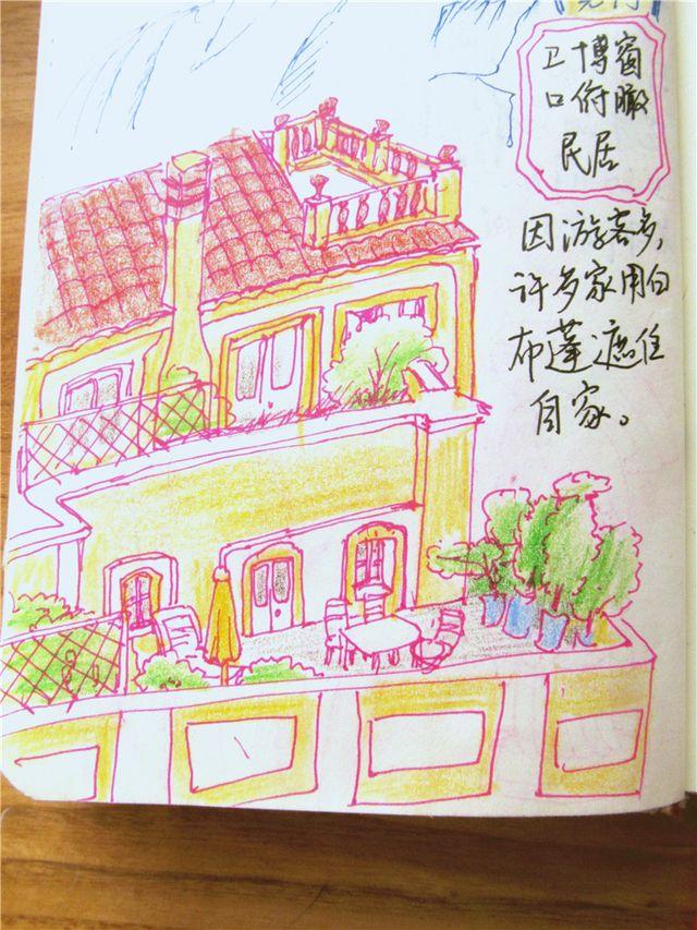 雅典卫城手绘简笔画