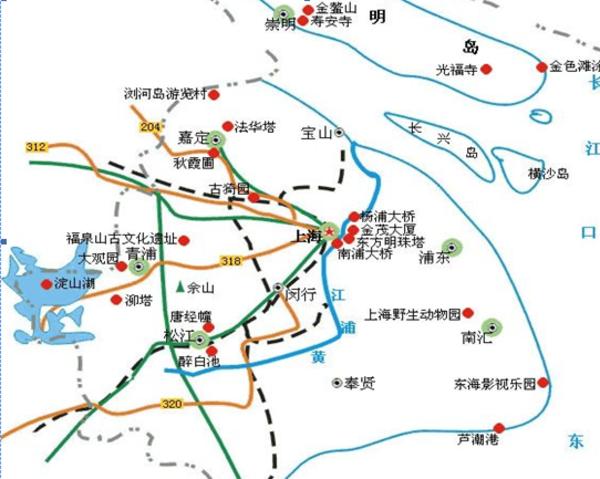上海旅行地图_上海旅行路线_上海最佳旅游路线
