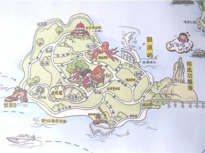 在岛上买了一份手绘地图.