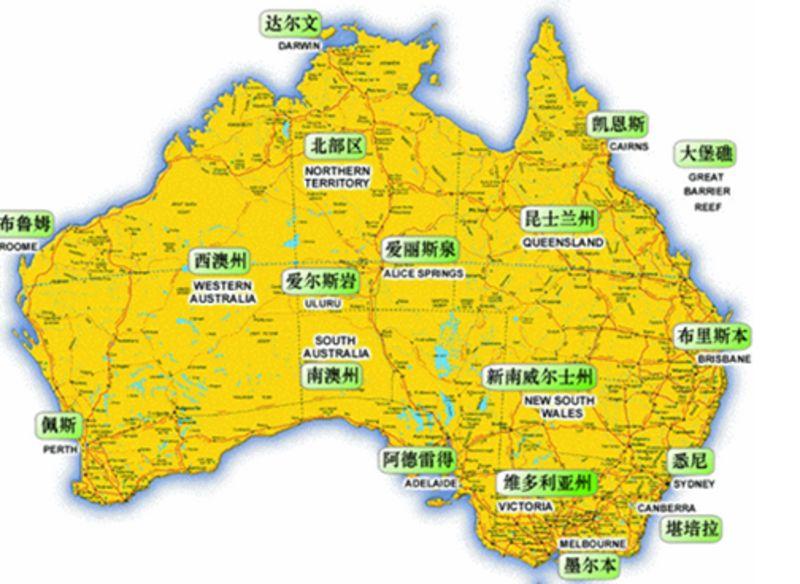 澳大利亚旅游地图_澳大利亚旅游_澳洲迷人风情之旅