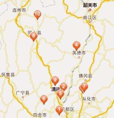 景点地址:英德市横石塘镇仙桥(近台泥水泥厂)-清远旅游地图 清图片