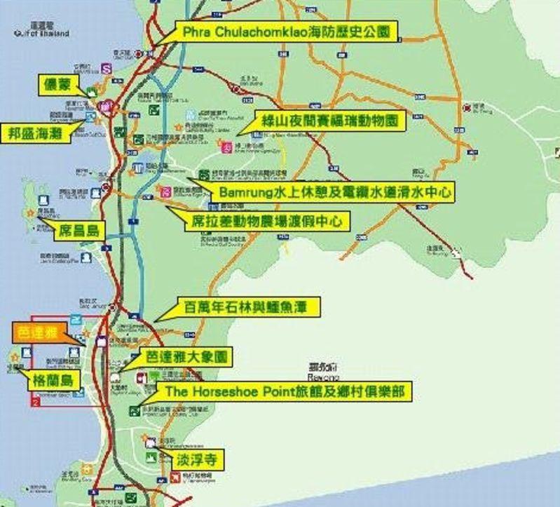 泰国芭提雅旅游地图_俯瞰芭提雅_泰国芭提雅旅游