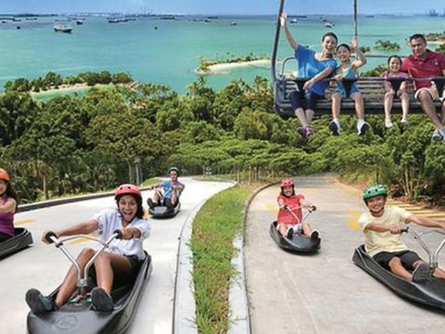 <一次玩不夠 新加坡圣淘沙天際線斜坡滑車+空中吊椅>可選2/3次套餐  換票入園