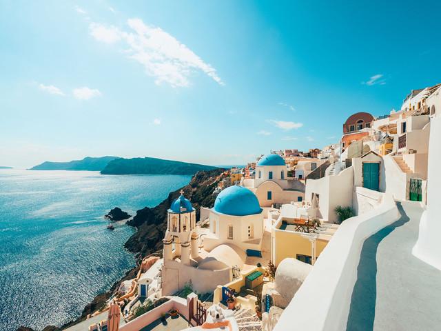 <希腊双岛8日游>雅典集中 扎金索斯岛  圣托里尼 爱琴海航游 黑沙滩 机场接送 (当地参团)