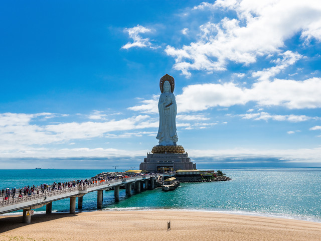 <南山寺文化旅游区>祈福  108米海上观音