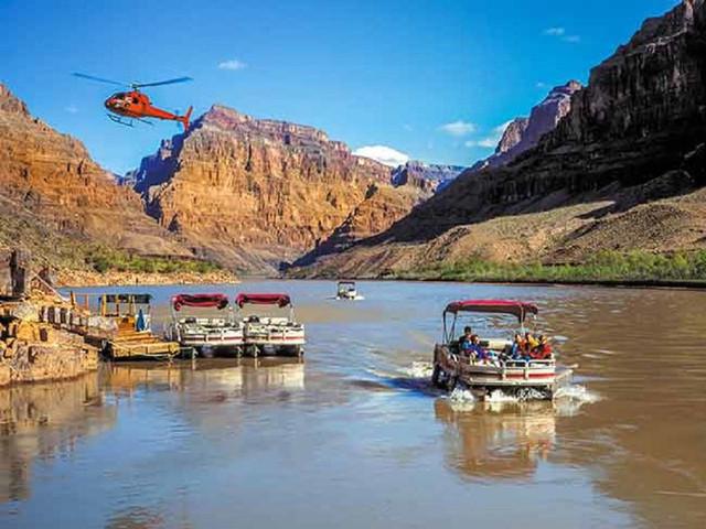 <热门预订【科罗拉多大峡谷西峡+胡佛水坝+天空步道+直升机+游船一日游】>含午餐