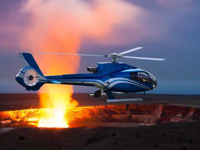 <官方直签 特价放送 美国夏威夷大岛蓝色直升机体验>高空视角俯瞰火山熔岩/热带雨林彩/虹瀑布/震撼火山熔岩流/一次体验今生难忘/50分钟/120分钟