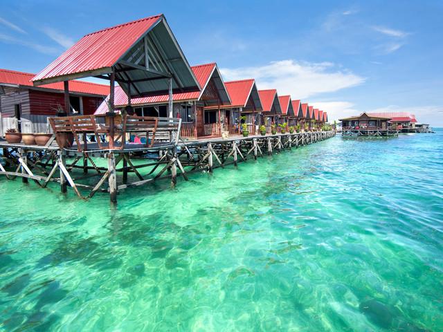 <马来西亚仙本那 马布岛+卡帕莱跳岛浮潜一日游>原住民村落 浮潜 深潜 豪华度假村水屋拍照 马来风味午餐