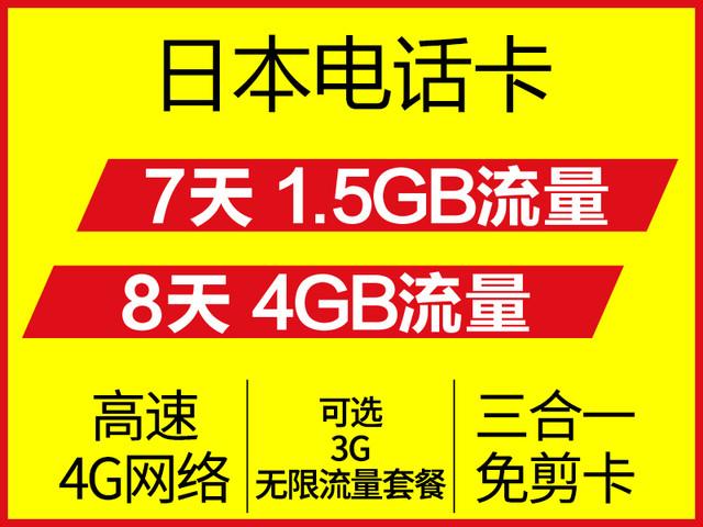 <日本SoftBank卡7天无限流量上网卡 高速4G流量>三卡合一 插卡即用 4G网速