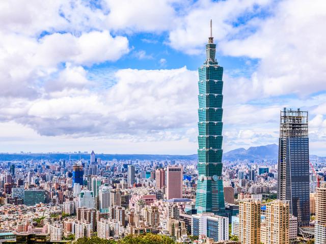Aerial panorama over Downtown Taipei with Taipei 101 Skyscraper, capital city of Taiwan